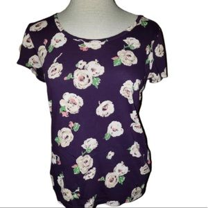 Juicy Couture Small Purple Foral Blouse Tee Top